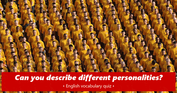 personality adjectives English quiz