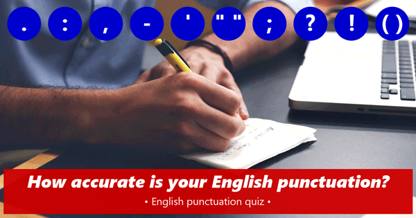 punctuation English quiz